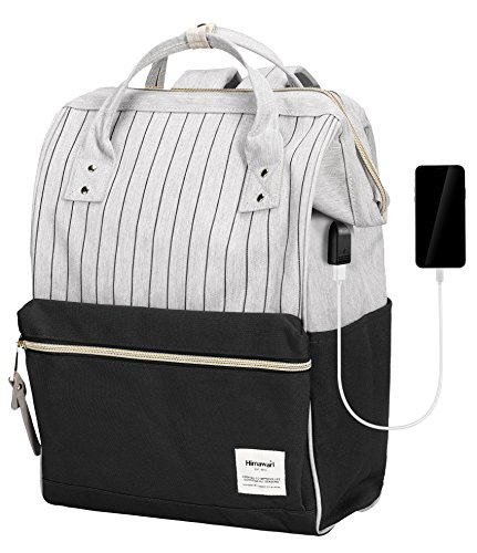 Himawari Laptop Backpack Travel Backpack With USB Charging Port Large Diaper Bag Doctor Bag School Backpack for Women&Men (USB Black Stripe) by Himawari