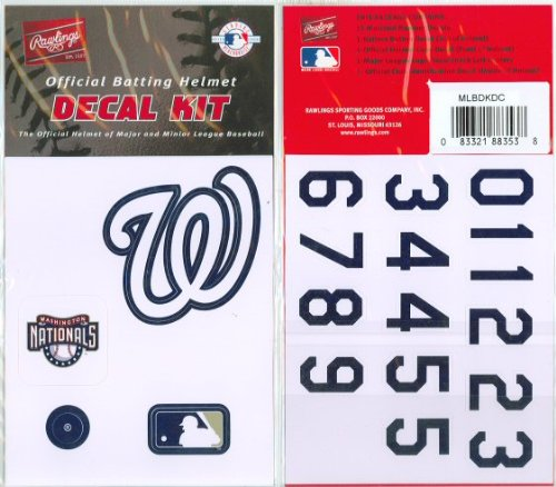 Washington Nationals MLB Batting Helmet Decal Kit (Includes Official Team Logos Stickers, MLB Logo & Numbers for Youth Little League Players to Adult Recreation ()