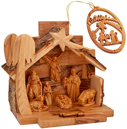 The Jerusalem Gift Shop Olive Wood Nativity Set with Figurines Bark Roof Stable | Made in Bethlehem with Christmas Tree Decoration