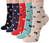 Womens Ladies Casual Crew Socks Gift-Cute Crazy Lovely Animal Cats Dogs (5 Friends Cats)