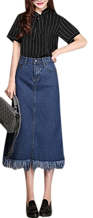 Women's Fashion High Waisted A Line Tassels Fringe Denim Skirt Blue