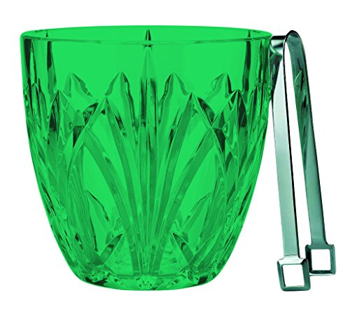 Marquis by Waterford Brookside Ice Bucket With Tongs - Full Color Emerald Green - Additional Vibrant Colors Available by TableTop King - Emerald Marquis