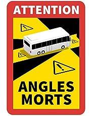 STROBO Attention Angles Morts 3 stuks voor bus / caravan, 25 x 17 cm, stickers met kentekenplaat, Frankrijk met uv-bescherming, speciaal voor buiten