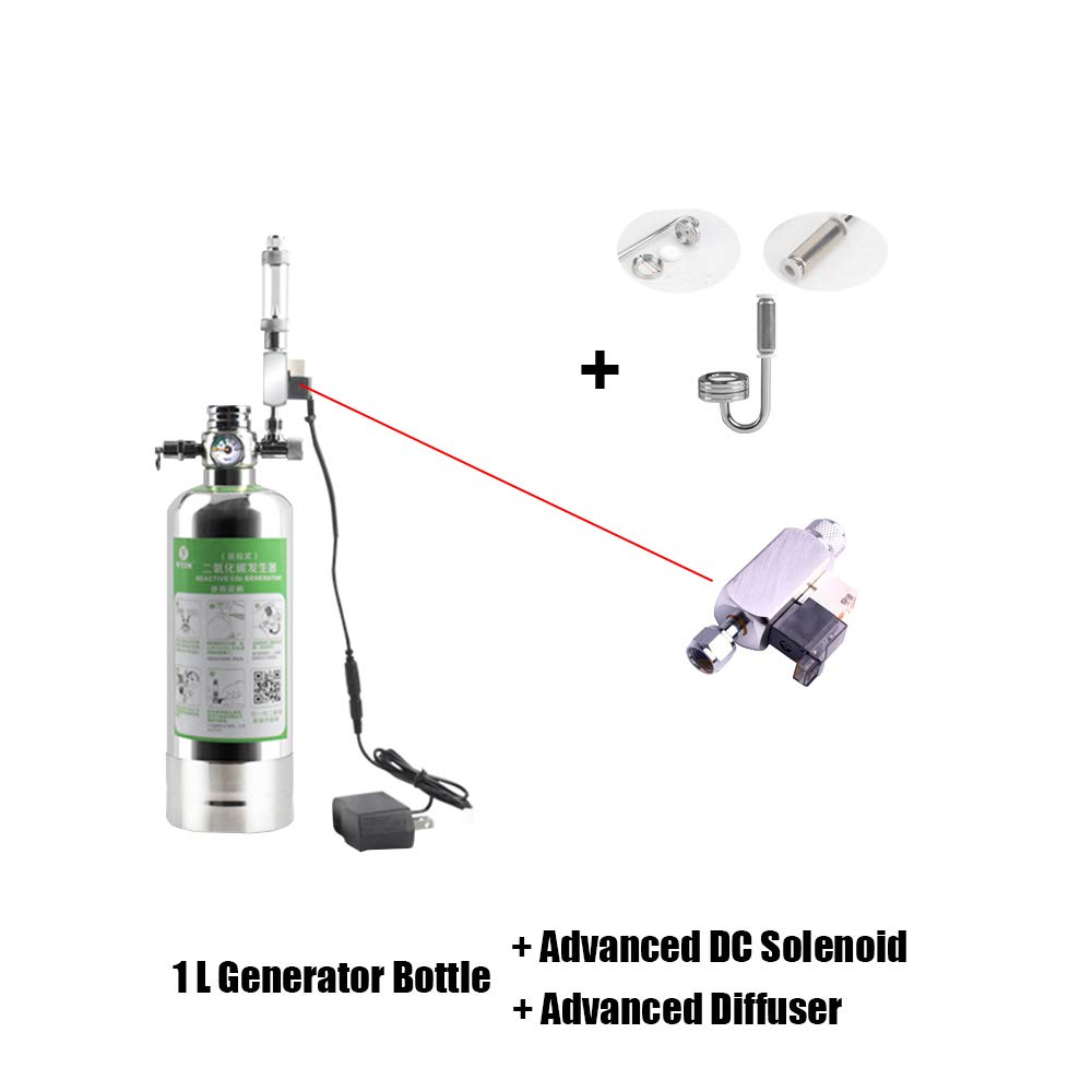 Aquarium CO2 DIY System Co2 Generator Kit for Aquarium Plant Fish Tank CO2 Dioxide Replenisher kit with Pressure Gauge Bubble Counter Filter and Soleonid (1L)