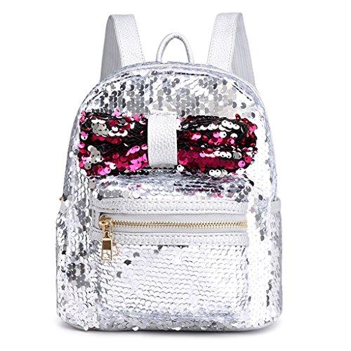 Lamdoo - Mini Bolso de Lentejuelas con Purpurina para Viajes, para niñas, Mujeres, Color Negro, Plateado, 21x12x25cm/8.27x4.72x9.84(Approx) Plateado