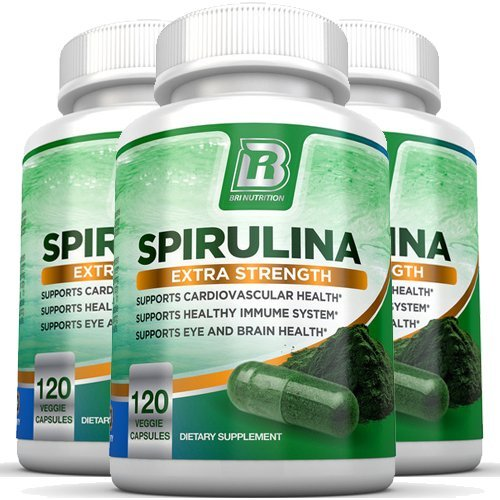 BRI Nutrition Spirulina - 2000mg Maximum Strength Supplement - 3-Pack by BRI Nutrition