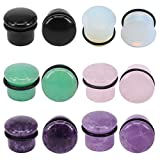 """11 16 plugs silicone - 6Pairs 4g-11/16"""" Multiple Stone Single Flared Ear Plugs with Silicone O-Ring Expander Gauges (Gauge=5/8"""