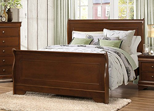 Homelegance Queen Size Footboard - Homelegance Abbeville Queen Sleigh Bedframe, Cherry