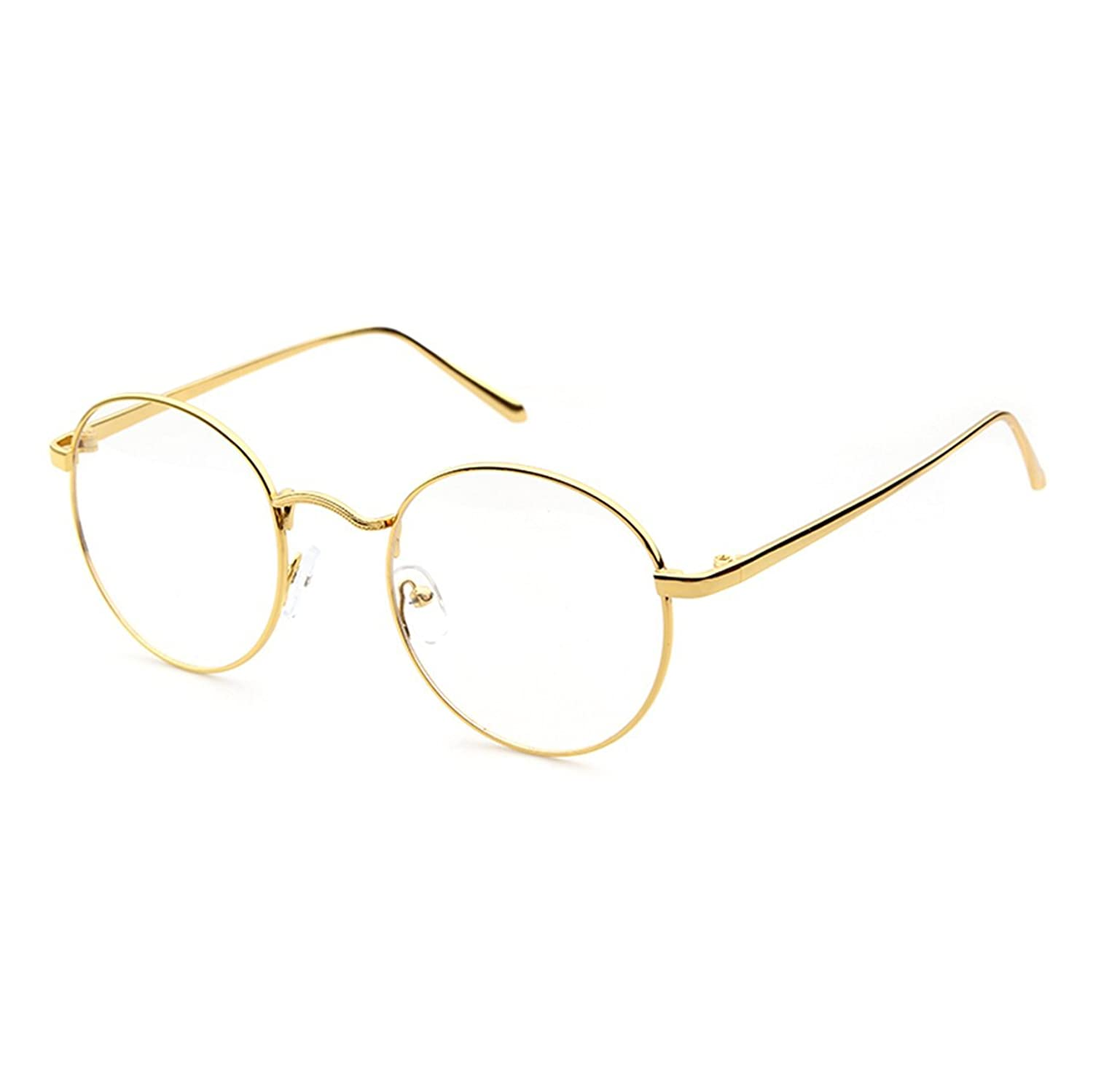 Adewu Men&Women Retro Round Designer Slender Metal Frame Reading Glasses by Amazon