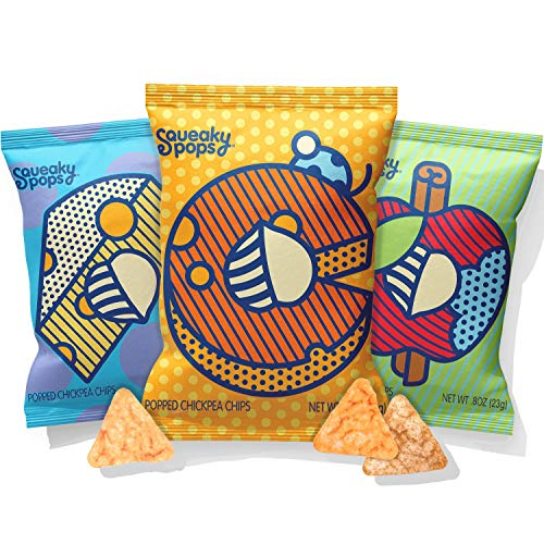 (Squeaky Pops Chickpea Chips, Healthy Snack Variety Pack, Gluten-Free, Nut Free, Non-GMO, Allergen Friendly - White Cheddar, Cheddar, and Apple Cinnamon (12 bags, 0.8oz)