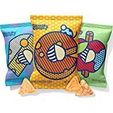 Squeaky Pops Chickpea Chips, Healthy Snack Variety Pack, Gluten-Free, Nut Free, Non-GMO, Allergen Friendly - White Cheddar, Cheddar, and Apple Cinnamon (36 bags, 0.8oz each)
