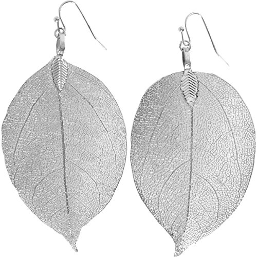 Large Leaf Earrings - Humble Chic Natural Leaf Earrings - Lightweight Dipped Cutout Filigree Drop Dangles, Large Silver-Tone, 2 to 3.5 inches