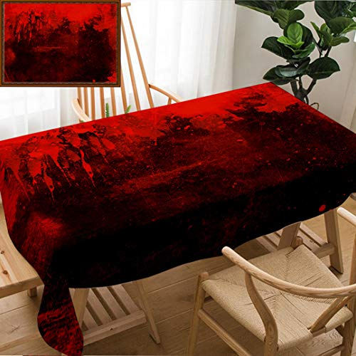 Unique Custom Design Cotton and Linen Blend Tablecloth Red Grunge Background with Splats and Drips Tablecovers for Rectangle Tables, Small Size 48