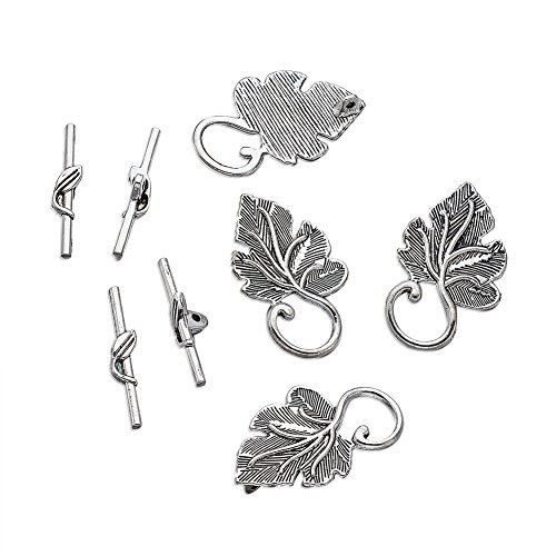 Pandahall 10Sets Tibetan Style Alloy Leaf IQ Toggle & Tbar Clasps for Necklace Bracelet DIY Jewelry Making Antique ()