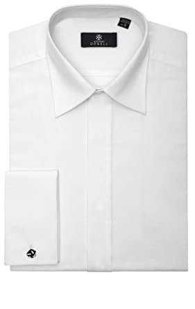 Mens White Tuxedo / Dress Shirt with Standard Collar and Plain ...