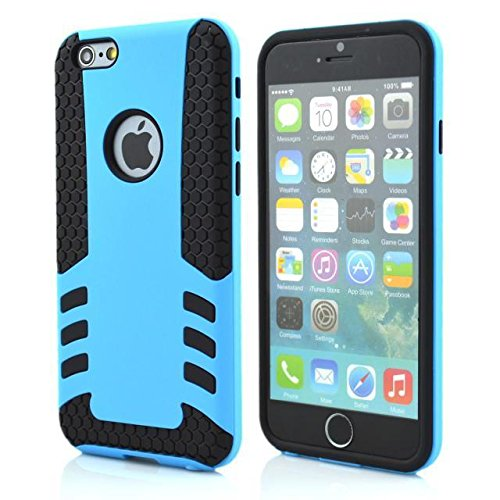 """DHZ® iPhone 6 Case, Dandy Case 2in1 Hybrid ROCKET Armor Full-Body Dual Layer Shock-Protector Slim Case Cover TPU and hard Protective Shell for Apple iPhone 6 (4.7"""" screen) (Light Blue & Black)"""
