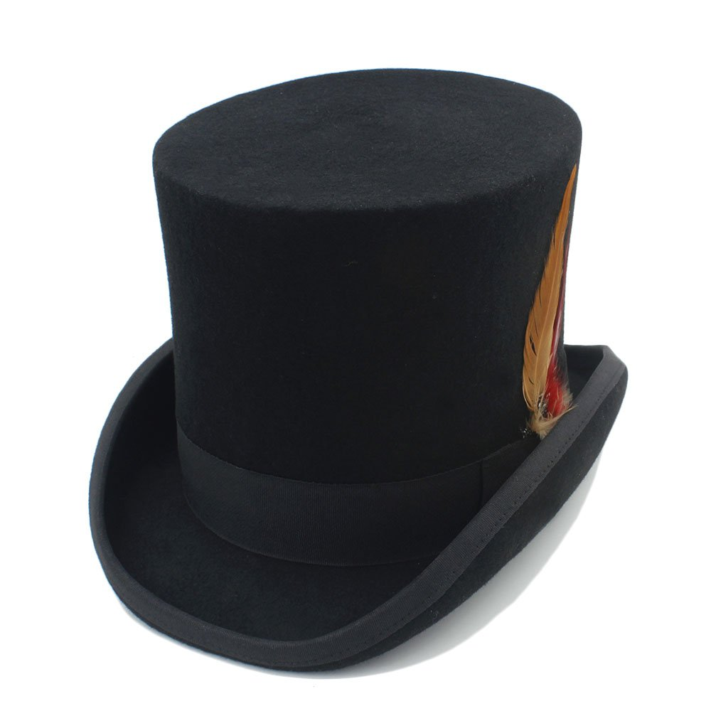 MXL Mens Top Hat Wool Fedora Steampunk Fedoras Hat with Feather Color : 1, Size : 59CM