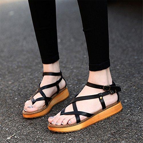 Cuero 45 Tobillo 35 Señoras Sandalias Plano Tamaño Negro Mujer Correa Zapatos Punta Black Nvxie Abierta Comodidad w6RqxEtx