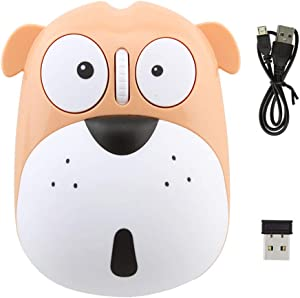 3C Light Wireless Mouse Cute Animal Dog 2.4GHz Wireless Mouse Mini Rechargeable Optical Mice Cartoon Computer Mouse 3 Buttons for Laptop Desktop PC Computer (Yellow)