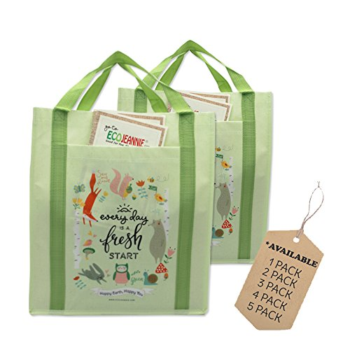 Top Rated EcoJeannie X-Large Non-woven Reusable Shopping Tote Bag (2 Bags), Made from Minimum 10% Recycled Plastic w/Bottom Board & Reinforced Nylon Handle