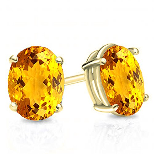14K Yellow Gold 7x5 mm each Oval Cut Citrine Ladies Solitaire Stud Earrings - Citrine Clip