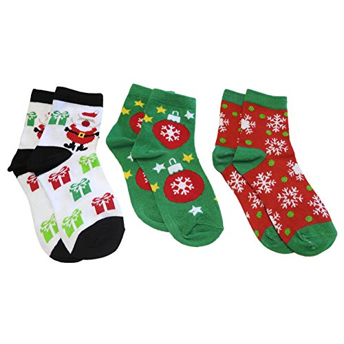 Crazy Kismet Festive Fun for the Family Kids Christmas Ankle Socks Three Pack (Santa, Ornaments, Snowflakes) Family Stocking Ornaments