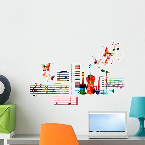 Colorful Musical Instruments Design Wall Decal by Wallmonkeys Peel and Stick Graphic (24 in H x 24 in W) WM364740