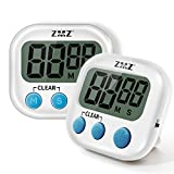 Digital Kitchen Timer, Magnetic Backing & Standing & Hanging for Placement, 2 PCS Pack Kitchen Clock Set for Cooking Baking Sports Games Office Facial, Big Digits Loud Alarm Minute Second Countdown