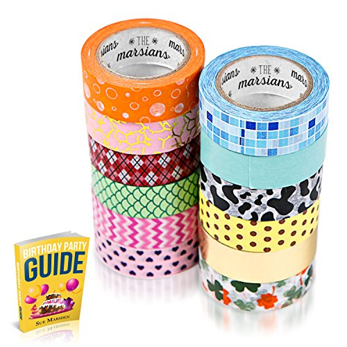 Washi Tapes Set of 12 Rolls, Decorative Tape For Arts & Crafts, Scrapbooking Supplies & Planner Accessories, Sticker, Paper, Masking Tape, Kids Ideas, Includes Birthday Party Ebook  (12 Pack Can Dispenser compare prices)