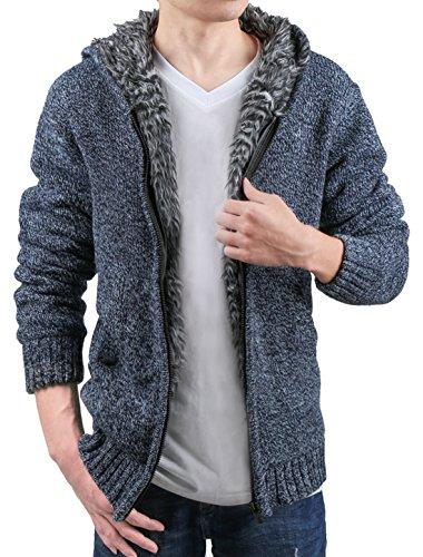 Allegra K Men Zip Up Closure Plush Lined Fleece Long Sleeves Hoodie Cardigan Sweater Denim Blue M US 38