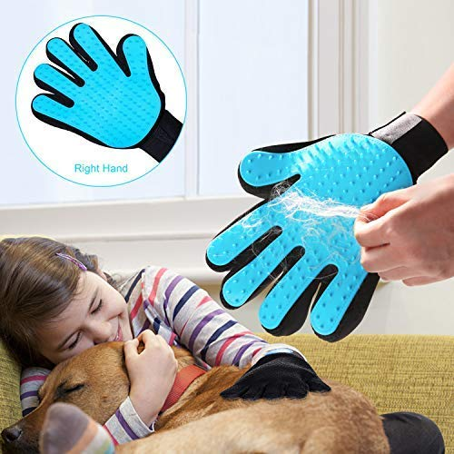 Dog Grooming Glove Pet Hair Remover Grooming Brush Grooming Massager-Deshedding Bathing Massage Mitt Tool with Enhanced Five Finger Design, Perfect for Dog & Cat - 1 Pcs (Right-Hand)