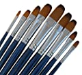 ARTIST PAINT BRUSHES - Fr - Professional Quality Black Tip, Golden Nylon, Long Handle, Filbert Paint Brush Set - Ideal for Acrylic Painting and Oil Painting, and Equally Useful for Watercolor Painting and Gouache Color Painting. - The Natural Characterist
