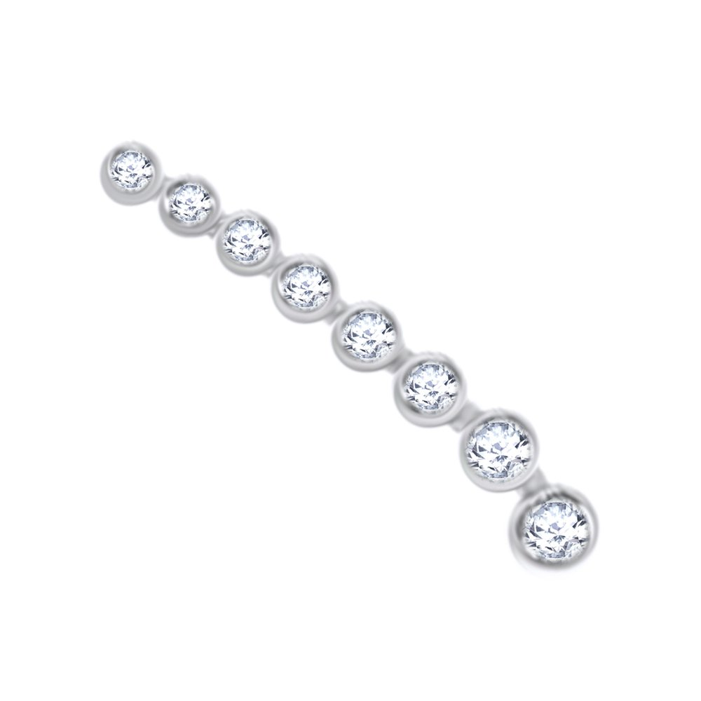 White Natural Diamond Waterfall Single Earring in 14K Solid White Gold