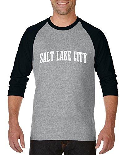 Salt Lake City UT Utah Map Home of Aggies Utes University of Utah Raglan Sleeve Baseball T-Shirt ()