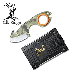 Elk Ridge Infinity Skinner with Guthook / Camo Couteau de chasse depeussage skinner / Decarcassage Gibier