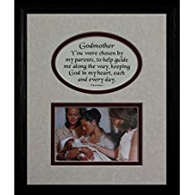 8x10 GODMOTHER Picture & Poetry Photo Gift Frame ~ Cream/Burgundy Mat with BLACK Frame ~ Heartfelt Keepsake Picture Frame for the Godmother Baptism or Christening Gift Idea by PoetrybyJoyceBoyce.com