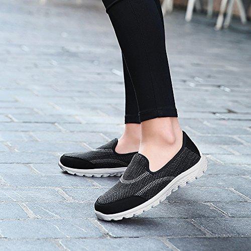 Enllerviid Mujer Light Weight Go Easy Slip On Mesh Zapatos Para Caminar Flat Heel 1603 Black