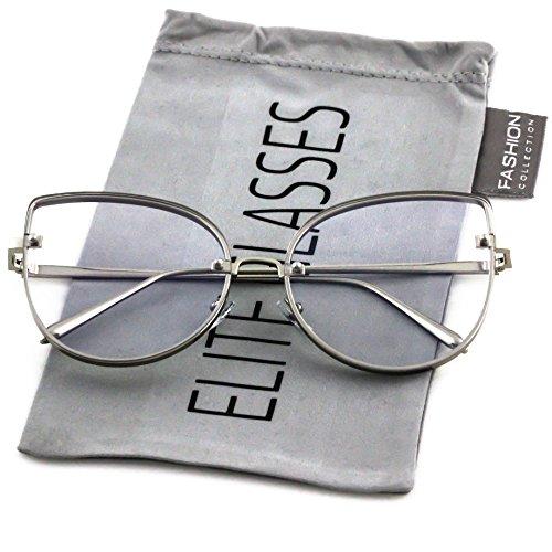 Elite OVERSIZED VINTAGE RETRO CAT EYE Style Clear Lens EYE Large Frame SUN GLASSES (Silver, - Cat Eye Large Frames