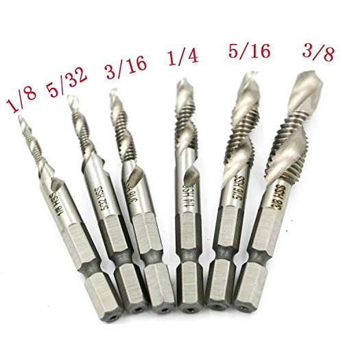 Yakamoz 6PCS Drill Tap Combination Bit Set HSS Deburr Countersink Bit 1/4 Hex Shank Tool Kit | Imperial by Yakamoz