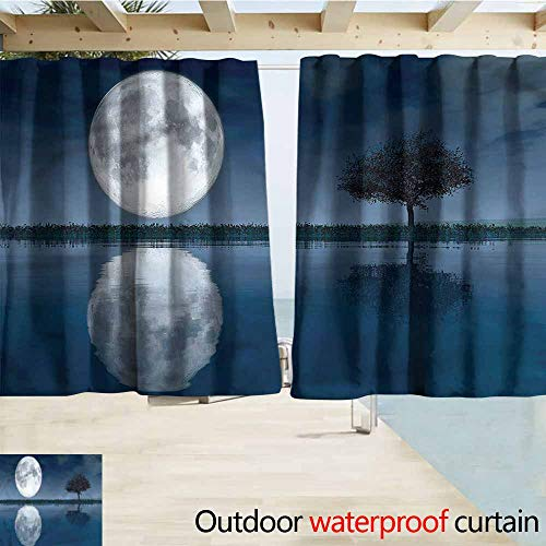 MaryMunger Outdoor Waterproof Curtains Ocean Rural Poppy Field Lonely Tree Draft Blocking Draperies W72x72L Inches (Floral Valance Fields)