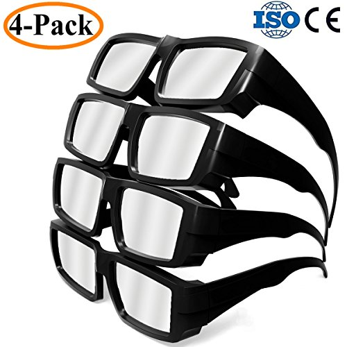 Habibee 4 Pack Plastic Solar Eclipse Glasses Goggles Spectacles  Shade 14 Ce And Iso Certified  Adult Size Mirror Lens Eyes Protection Cool Look Sun Filter Solar Safe Viewer Viewing Abs Black   4 Pack
