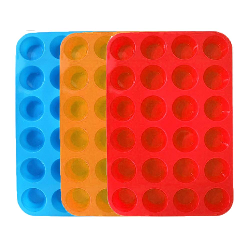 3 Paks Silicone Mini Muffin Pan, 24 Cups Silicone Mold Cupcake Baking Pan, Silicone Muffin Tins Baking Molds. (Orange, Red, Blue) WedFeir