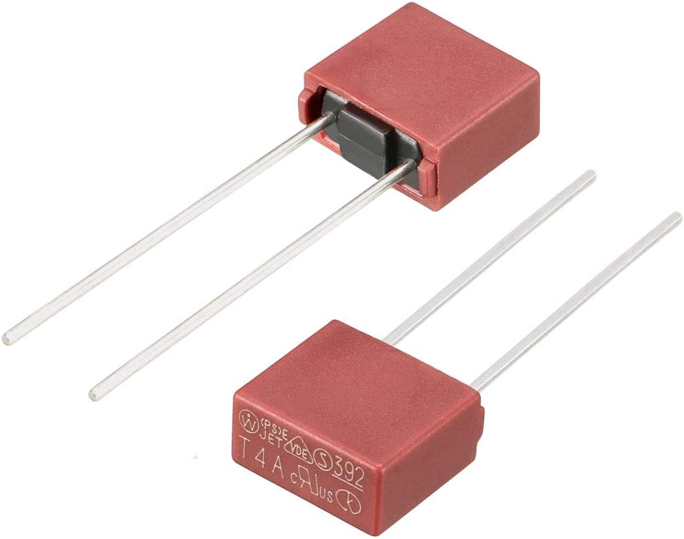 10Pcs DIP Mounted Miniature Square Slow Blow Micro Fuse T6.3A 6.3A 250V Red