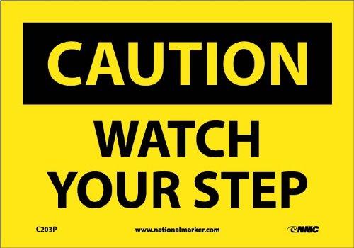 "NMC C203P OSHA Sign, ""CAUTION WATCH YOUR STEP"", 10"" Width x 7"" Height, Pressure Sensitive Vinyl, Black On Yellow"