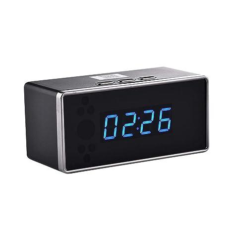 iBaste-home Mini cámara de Moda Cámara Oculta Reloj Despertador Cámara Bluetooth Cámara WiFi Reloj