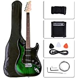 LAGRIMA Full Size 39 inch Electric Guitar Beginner Kit with 15w Amp, Tuner, Strings, Picks, Shoulder Strap, and Bag(39,Green)