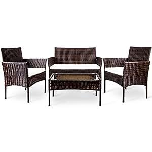 Merax WF020944 4 PC Outdoor Garden Rattan Patio Furniture Set Cushioned  Seat Wicker Sofa (Brown