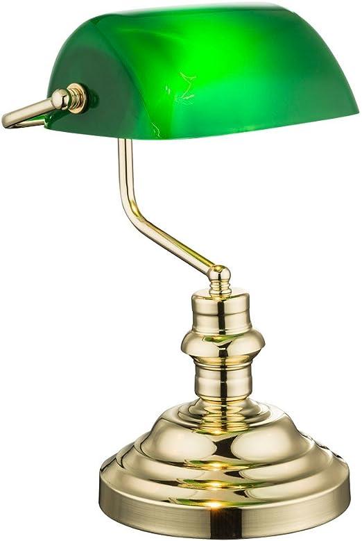 LED Banker Schreib Tisch Lese Büro Leuchte Antik Nostalgie grün Messing Lampe