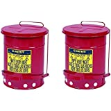 Justrite J09100 09100; Galvanized-steel; Safety cans; For Oily waste; Red; Foot Operated cover, ventilated Bottom; Reinforced ribs; Self-closing; UL listed; FM approved; Capacity:6 gal. (Pack of 2)