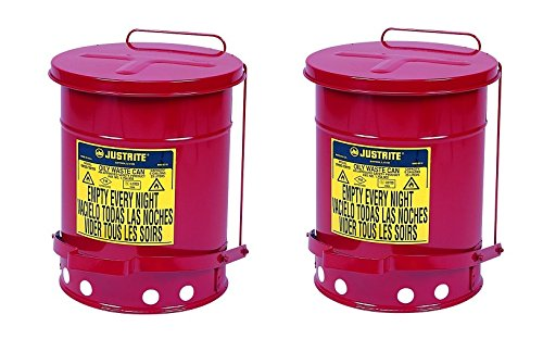 Justrite J09100 09100; Galvanized-steel; Safety cans; For Oily waste; Red; Foot Operated cover, ventilated Bottom; Reinforced ribs; Self-closing; UL listed; FM approved; Capacity:6 gal. (Pack of 2) by Justrite